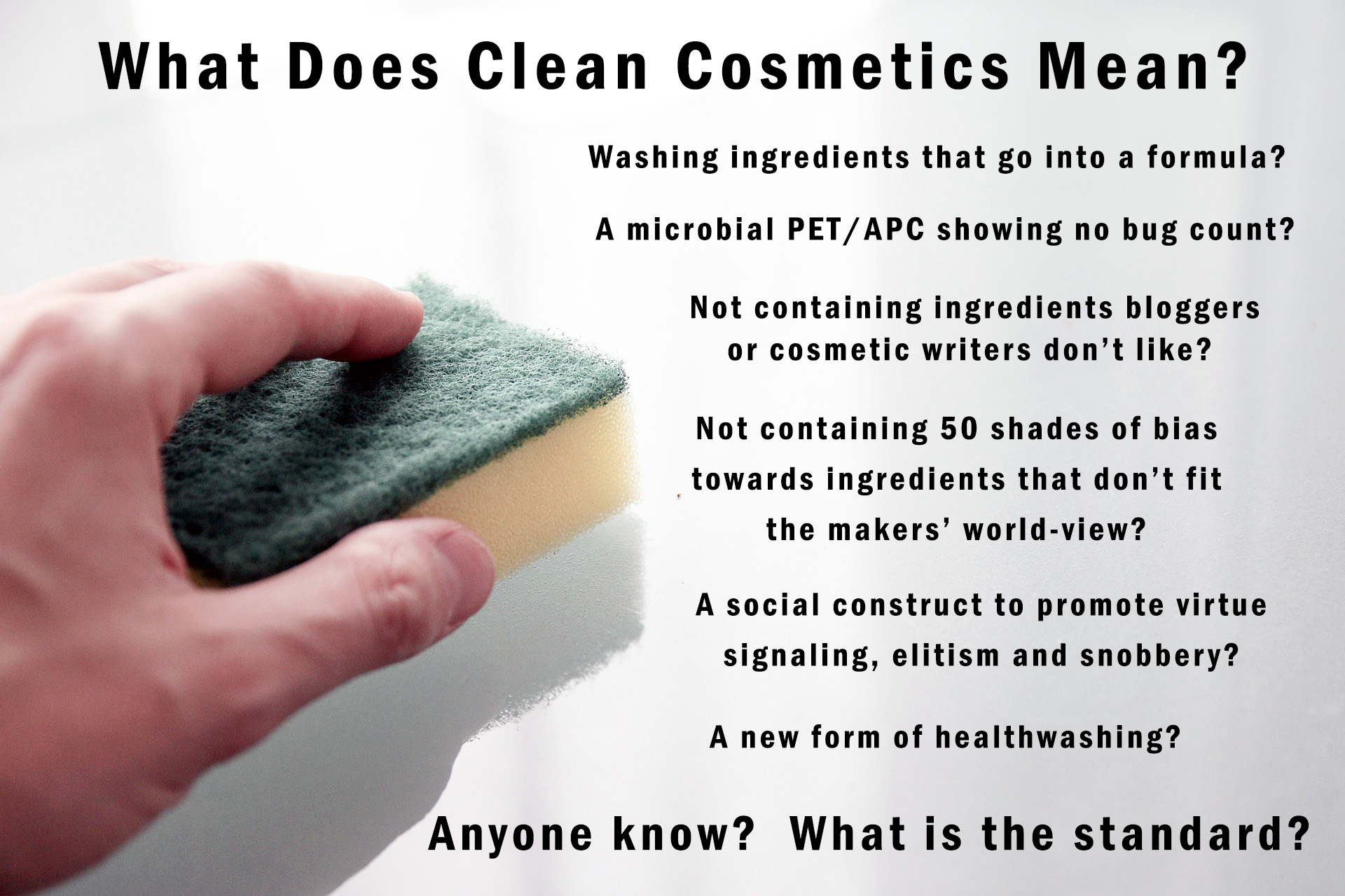 Picture of a scrub pad and questions of what makes a clean cosmetic
